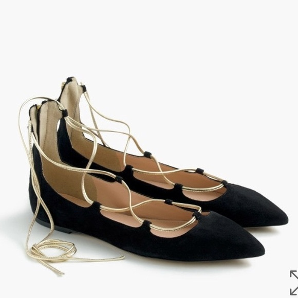 J. Crew Shoes - J.Crew Black Suede and gold lace up flats